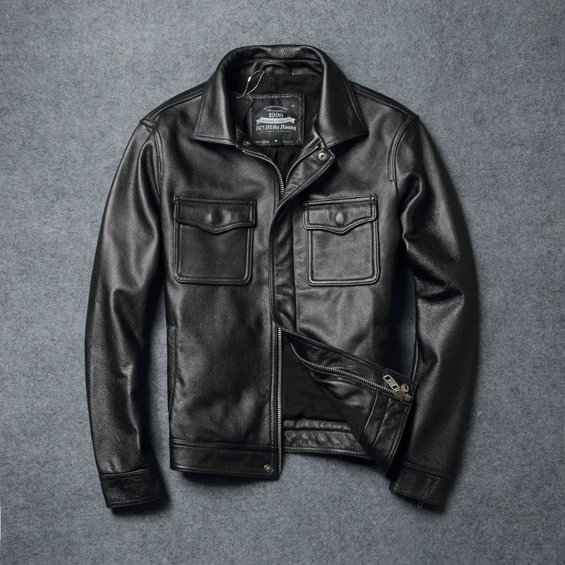Genuine Men Vintage Men's Jacket Motorcycle Cow Leather Coat Short Plus Size Jaqueta Couro 066 YY449