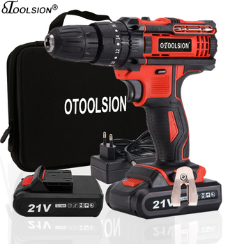 21V Variable Speed Impact Electric Screwdriver Impact Electric Drill Tool Hammer Cordless Drill Impact Drill Cordless+Tool Bag фото