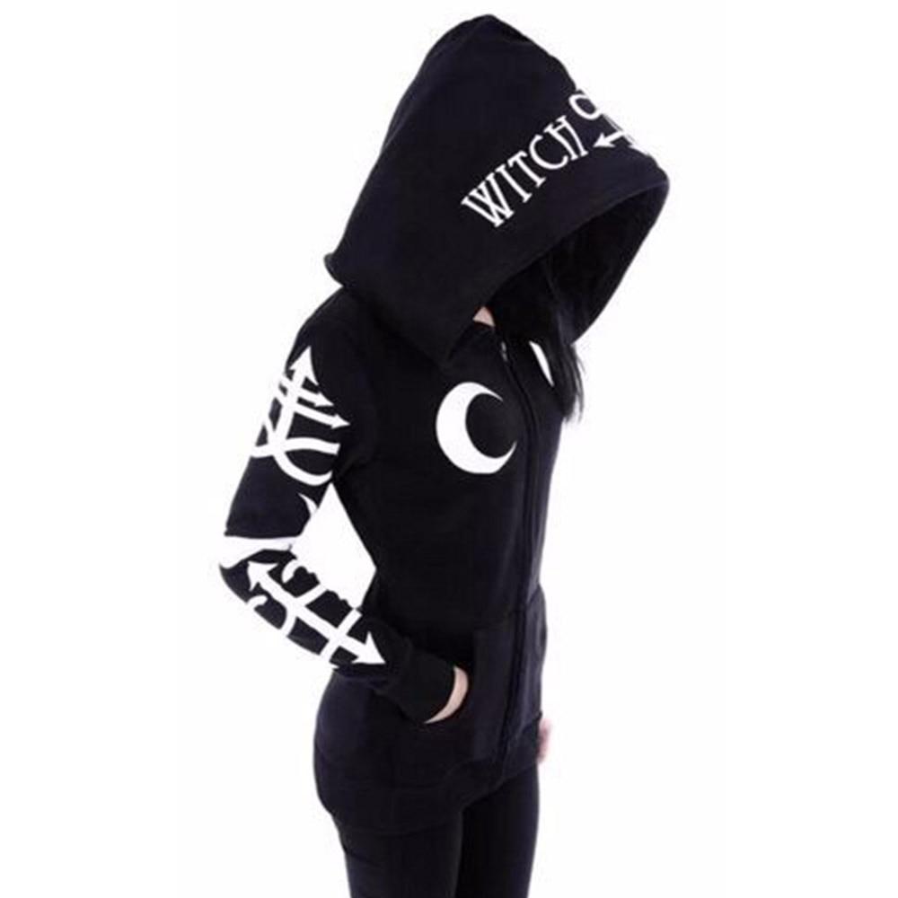 Rosetic Goth Hooded Black Hoodie Women Gothic Casual Moon Print Chic Black Hoodies Plus Size Fashion Streetwear Sweatshirt 2020