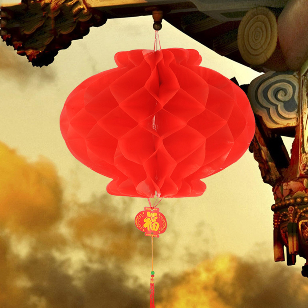 10pcs Home Hanging Decoration Foldable Red Paper Lantern Chinese New Year