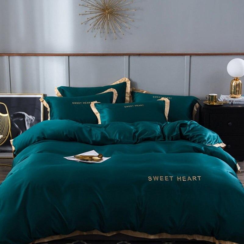 4 pièces été lavé soie couette rose blanc vert adulte enfants Air conditionné couette couvre-lit couverture de lit literie