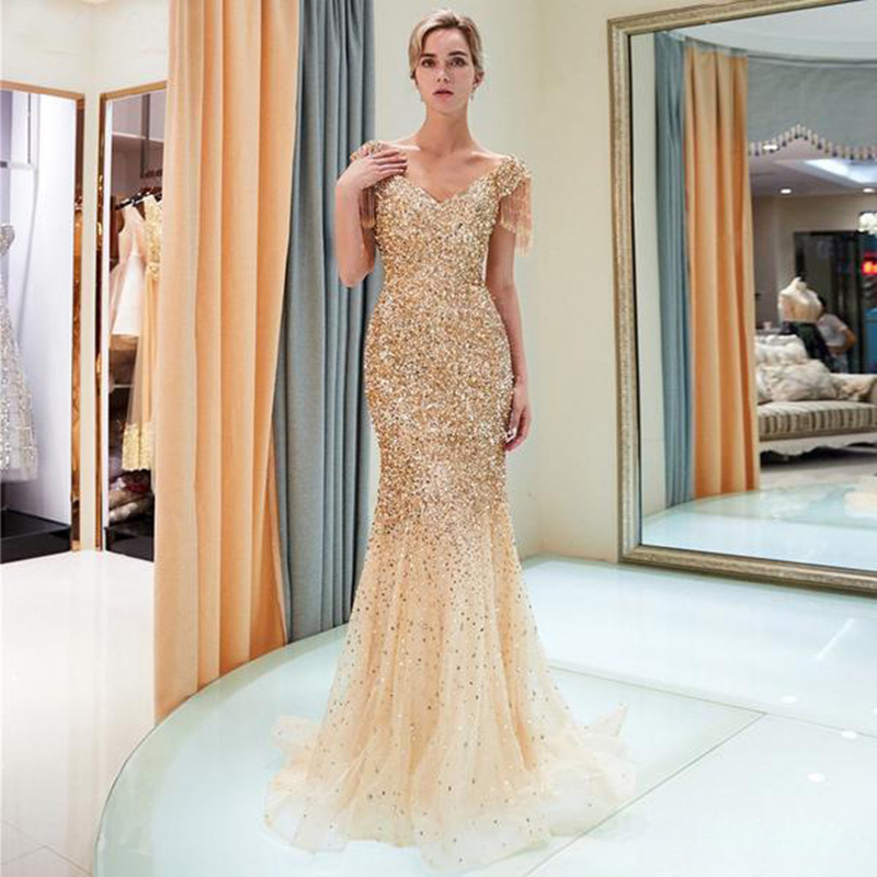 2020 Women Summer Dress Vintage Sexy Party Night Dresses Gold Bodycon Sequined Long Dress Plus Size Evening Vestidos