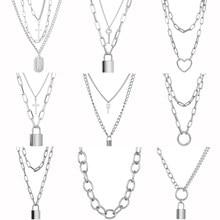 Bonito simples elo de corrente colar de bloqueio pingente feminino ouro prata cor moda goth jóias punk maxi collier longo colar presentes