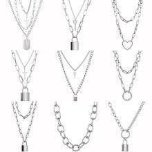 Carino semplice catena Link Lock collana pendente donne argento colore moda Goth gioielli partito Punk Maxi Collier collana lunga regalo