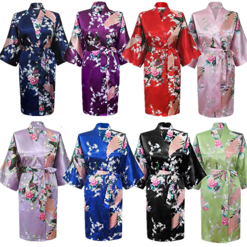 Silk Satin Wedding Bride Japanese Traditional Peacock Bridesmaid Robe Ladies Sleepwear Yukata Kimono Short Dress Nightgown
