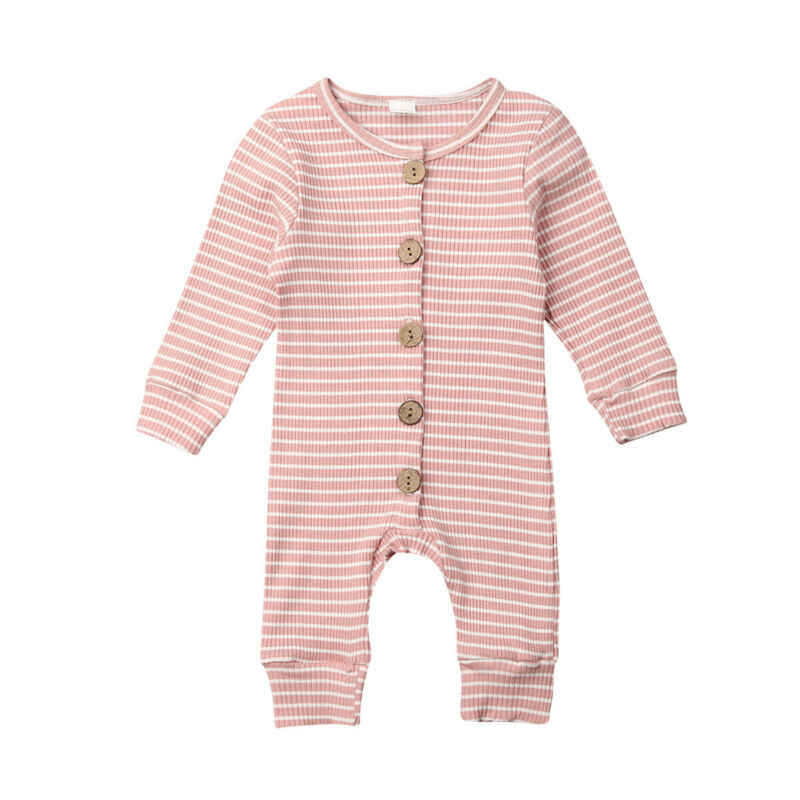 2019 Baby Spring Autumn Clothing Newborn Infant Baby Boy Girl Striped Romper Knitted Ribbed Jumpsuit Clothes Warm Outfit 0-18M