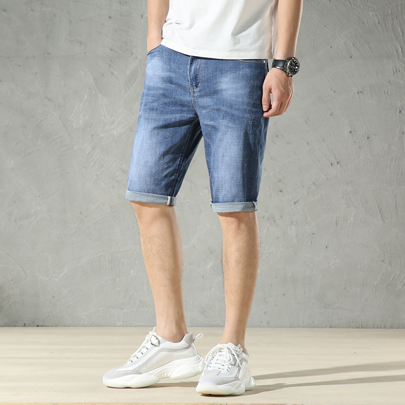 Men Summer Hot Sales Short Jeans Casual Fashion New Style Versatile Medium Waist Korean-style Micro Elastic Thin Youth Pants