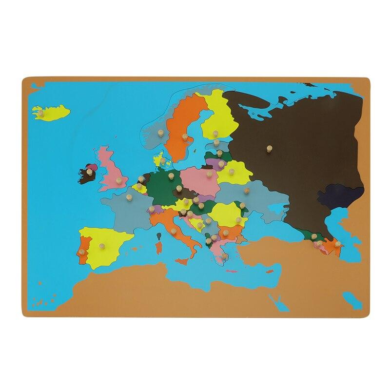 Карта мировых пазлов с ручкой 3D игра головоломка География обучения деревянные карты цветная доска Монтессори Обучающие игрушки GE007 3