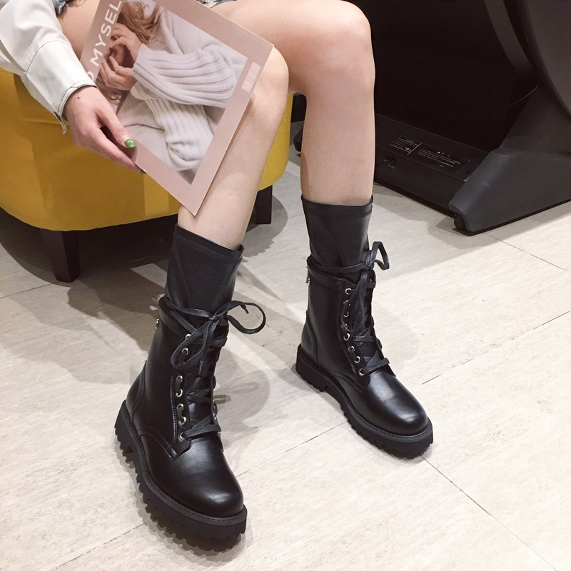 Liren 2019 Winter New Fashion Sexy Women Boots Microfiber Round Toe Square Med Heels Comfortable Casual Women Warm Winter Boots in Ankle Boots from Shoes