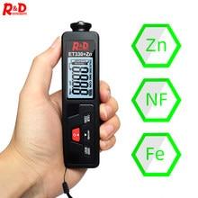 Medidor de espesor de pintura de coche R & D ET330 + ZN, medidor de espesor de recubrimiento portátil para coche 0-1500um Fe & NFe, medidor de prueba de recubrimiento