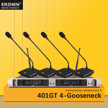 Best Conference Room Wireless Microphone On The Desktop 401GT Professional 4 Channel UHF Dynamic  4 Gooseneck Mic table speaker oupushi conference system 8 channel gooseneck uhf ppl wireless conference table microphone sound quality ceiling speaker