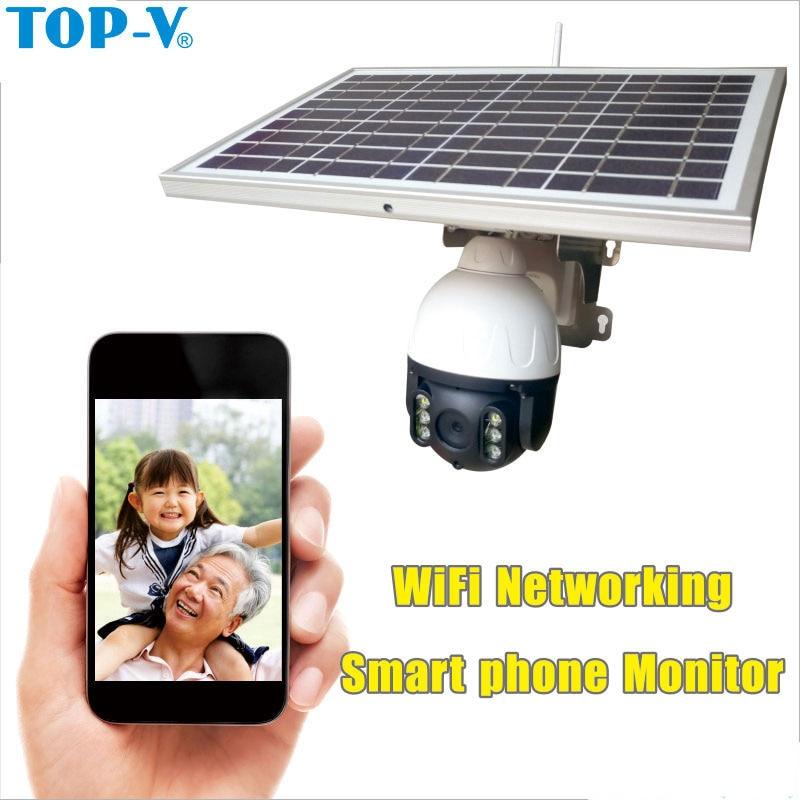 TOP-V IP камера на солнечной энергии 1080P WiFi камера 4X Zoom 2 Way аудио Водонепроницаемая беспроводная наружная беспроводная камера безопасности s