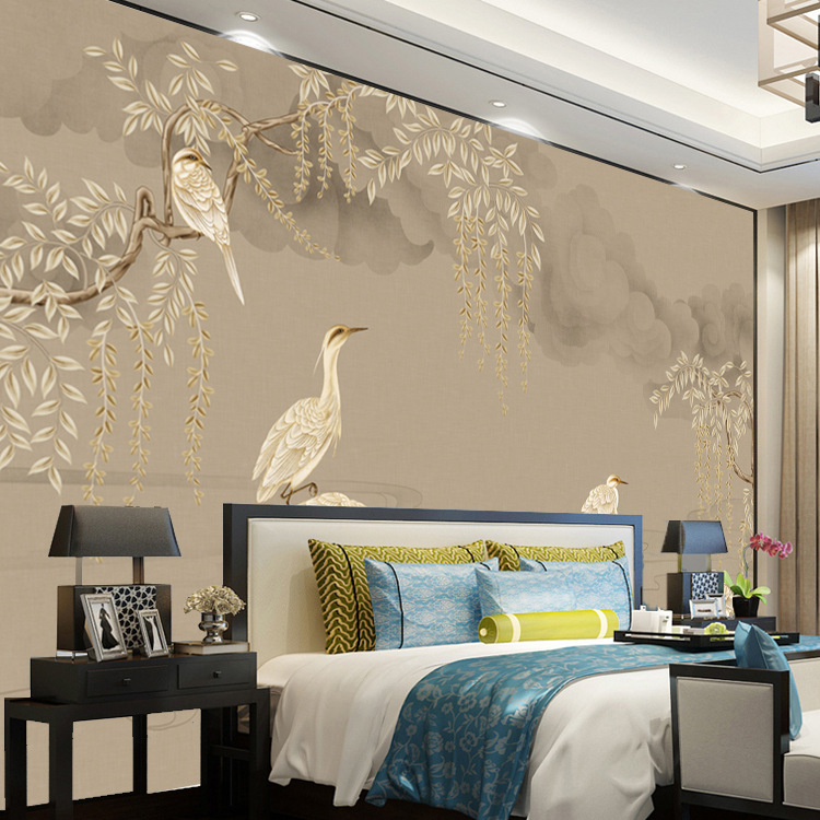 New Chinese Style Hand-Painted Flowers And Birds Elegant Classical Wallpaper TV Backdrop Living Room Wallpaper Seamless Wall Clo