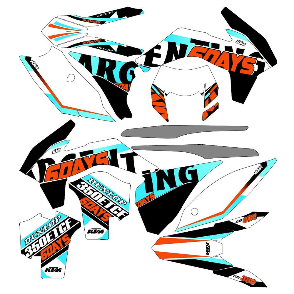 New Full Graphics Decals Stickers Custom Number Name 3M Matte Stickers For KTM 125 250 300 350 450 500 EXC 2014 2015 2016