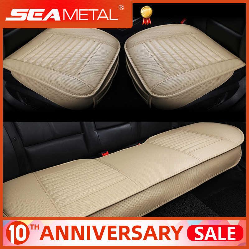 Tampas de assento de carro de couro universal seat-cover quatro estações conjuntos de almofada automóveis interior tampas de tapete de assento acessórios de automóvel