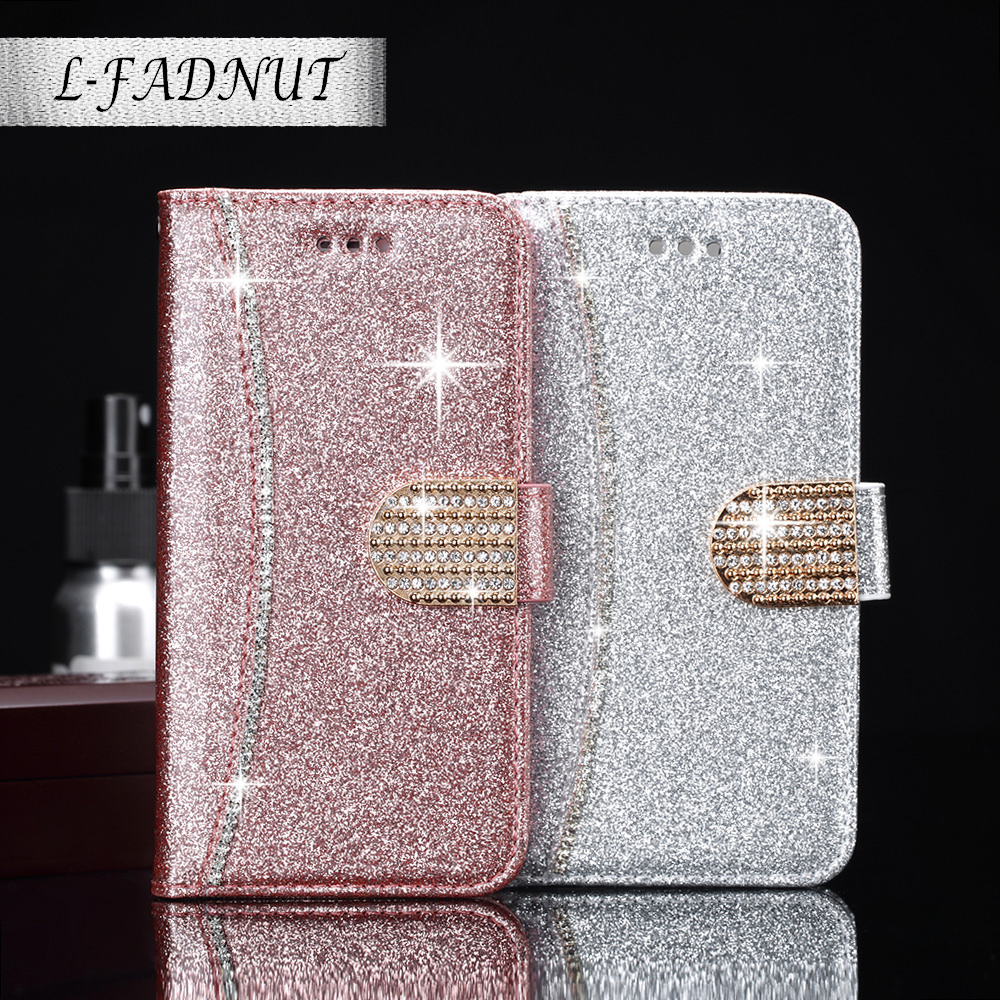 L-FADNUT Bling Glitter <font><b>Flip</b></font> <font><b>Leather</b></font> Wallet <font><b>Case</b></font> For <font><b>Samsung</b></font> S20 Ultra S9 Plus S8 A3 2017 A5 A8 2018 <font><b>S7</b></font> edge Magnetic Cover Coque image