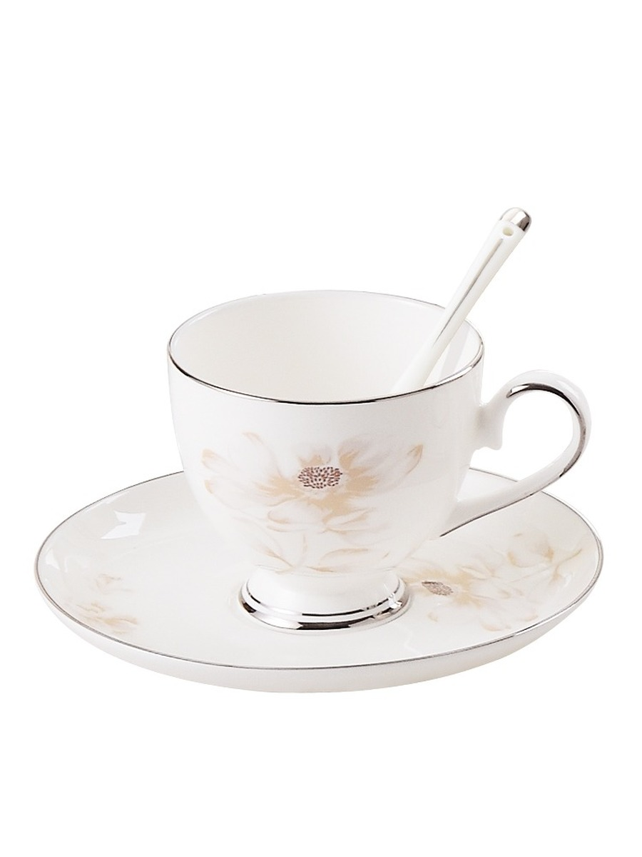 Coffee Cup Porcelain With Spoon And Saucer White Tea Cups And Saucer Sets White Ceramic Coffee Cups Royal Bone China Tea HH50BD