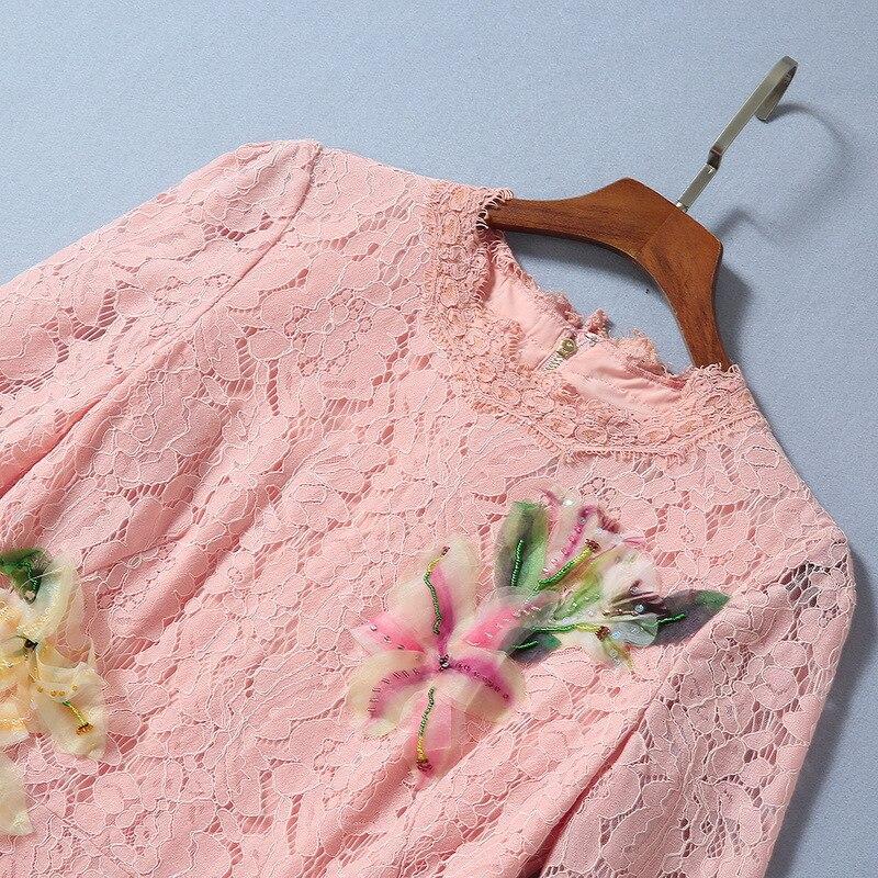 Осень 2019 Новая Европейская и американская женская одежда рубашка с рукавом в 7 цветах, наклейте ткань с цветочным узором модное кружевное платье с юбкой годе - 3