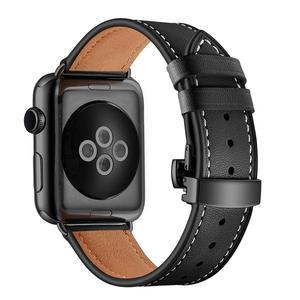 Image 2 - Ремешок итальянский для apple watch 5 band 44 мм 42 мм, натуральный кожаный браслет бабочка для iWatch Series 6 5 4 3 SE 40 мм 38 мм