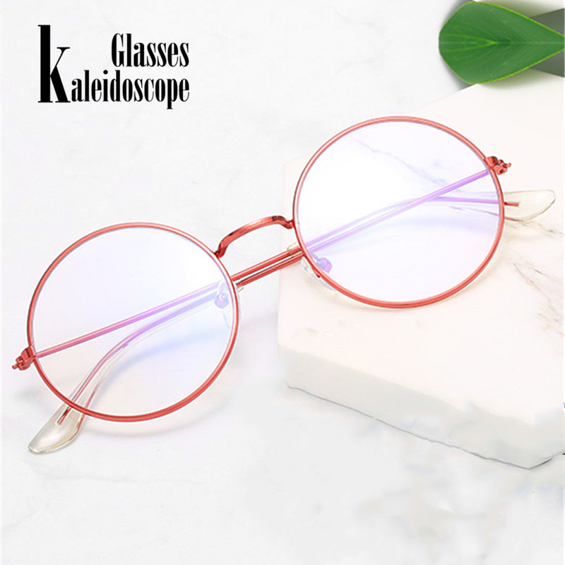 Retro Round Glasses Frame Women Vintage Red Eyewears Men Metal Spectacle Frames