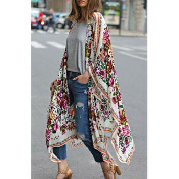 Women Loose Floral Print Blouse Summer Casual Boho Chiffon Coat Shawl Kimono Cardigan Tops Plus Size 3XL 3