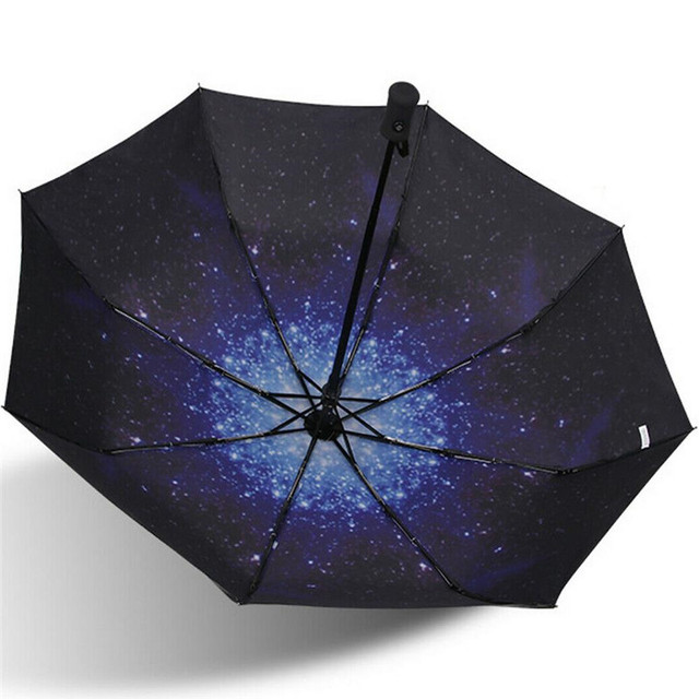 Zodiac Sign Pisces Over Starry Sky Compact Travel Umbrella Windproof Reinforced Canopy 8 Ribs Umbrella Auto Open And Close Button Customized