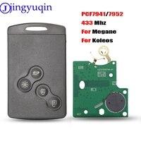 Jingyuqin 4 botones remoto llave inteligente llave de auto y tarjeta Fob FSK  433MHZ PCF7952 Chip para Renault Megane Scenic Laguna Koleos Clio