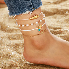 Tocona 4Pcs/Set Bohemian Pearl Beads Anklet Chain Gold Color Pendant Feet Bracelet Women Sandal Jewelry Accessories 8663(China)