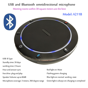 A211B 3M USB/Bluetooth 360 ° Captação de Áudio Plug and play Computador Desktop Conferência Microfone Omnidirecional Mic Speakerphone