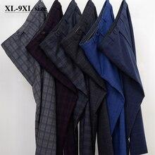 Più il Formato 5XL 6XL 7XL 8XL 9XL Pantaloni Dellabito di Stile Classico degli uomini di Affari Casual Sciolti Direttamente Pantaloni Plaid Maschio di Marca 7 di colore