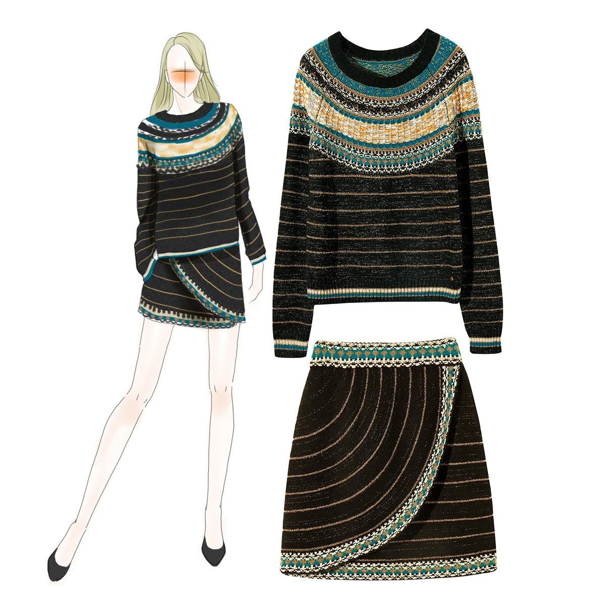 Зима 2019, Европейская мода, Классический шерстяной смешанный вязаный полосатый свитер, топы и подходящая половинчатая юбка, 2 предмета, наряд...