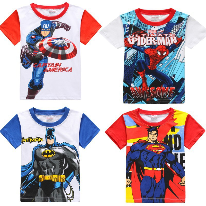 Kids T-shirt For Children Summer Avenger T-shirt Clothes Kids Avenger T Shirts Captain America Batman Spiderman Superman