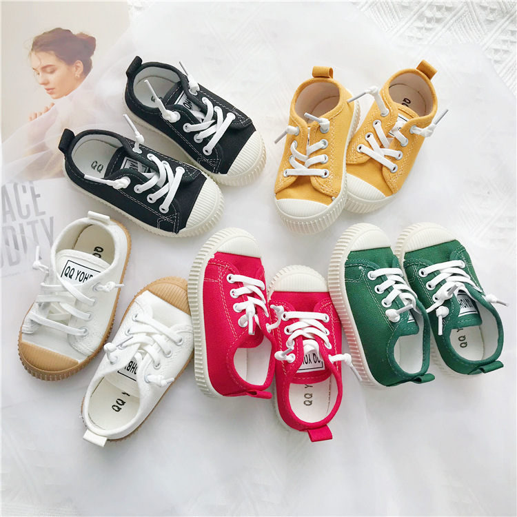 Children Canvas Shoes Boys And Girls Solid Color Casual Shoes New Kids White Shoes In Summer And Autumn All Casual Cookie Shoe