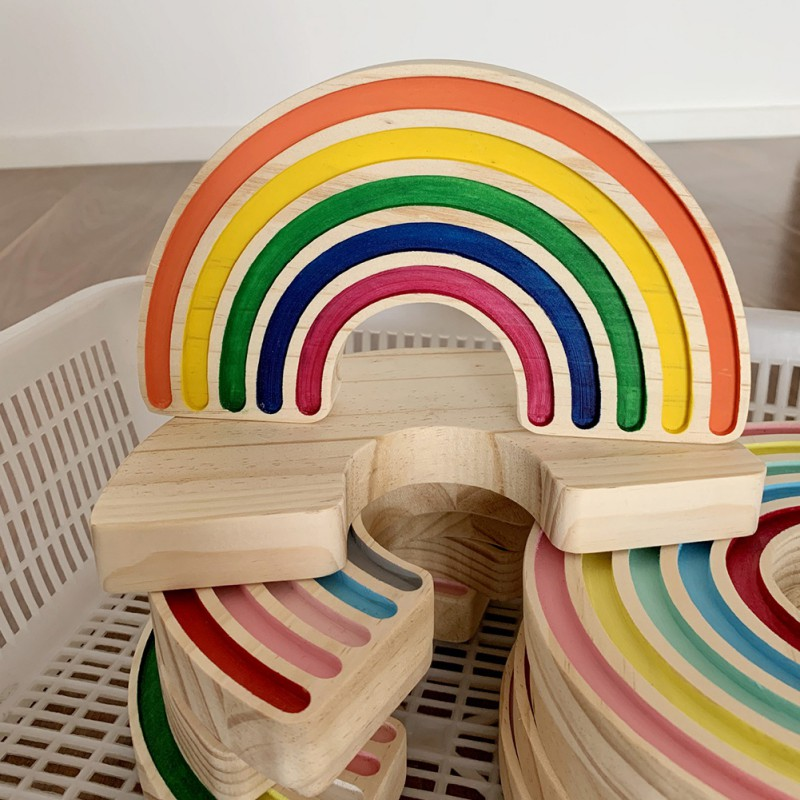 Rainbow Wooden Diy Crafts Toy Building Blocks For Nursery Room Decor Desktop Decoration Photography Props 2021 And To Have A Long Life.