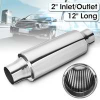 Universal 51mm 2 Inlet/Outlet Car Exhaust Pipe Muffler Resonator Exhaust Tip Tube Silencer Stainless Steel