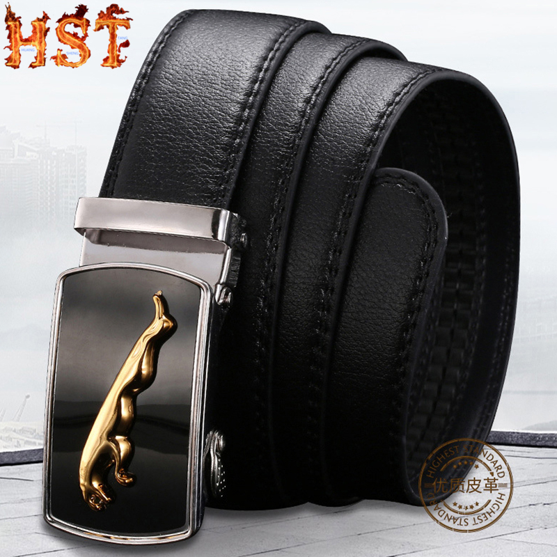 Men's Litchi Pattern Leather Genuine Belt Black Fashion Automatic Buckle Leather Business Casual Fashionable Wild Men's Belt