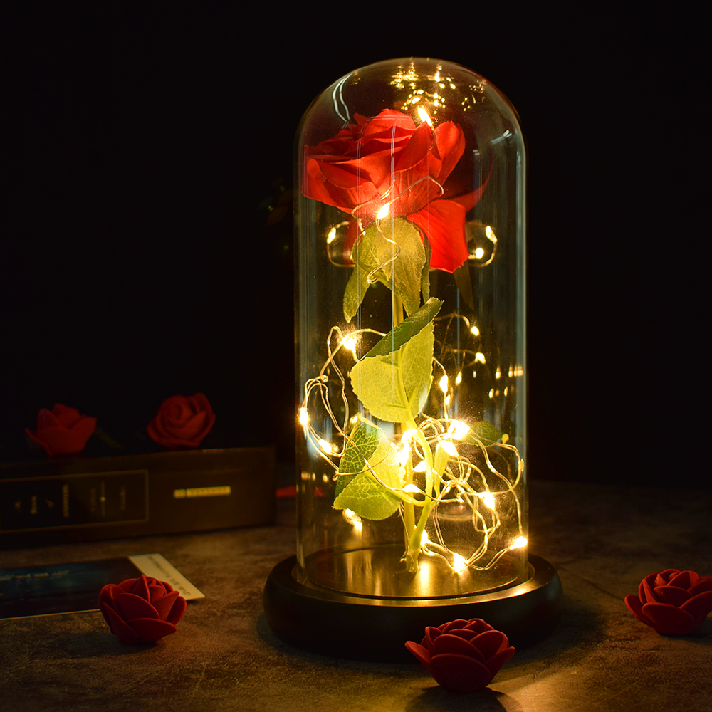 Beautiful Battery Powered LED Rose Glass Bottle String Light Desk Lamp Romantic Valentine's Day Birthday Gift Home Decoration