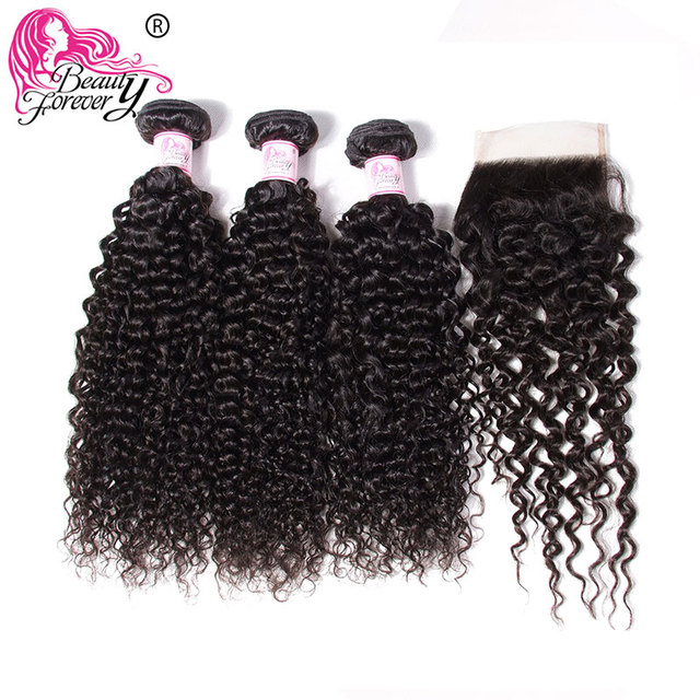 $ US $64.48 Beauty Forever Malaysian Curly Human Hair Bundles With Closure  4*4 Closure Free/Middle/Three Part 100% Remy Hair Extension