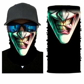 3D Joker Skeleton Skull Seamless Magic Scarf  Fishing Cycling Ski Bandanas Outdoor double sided skull scarf