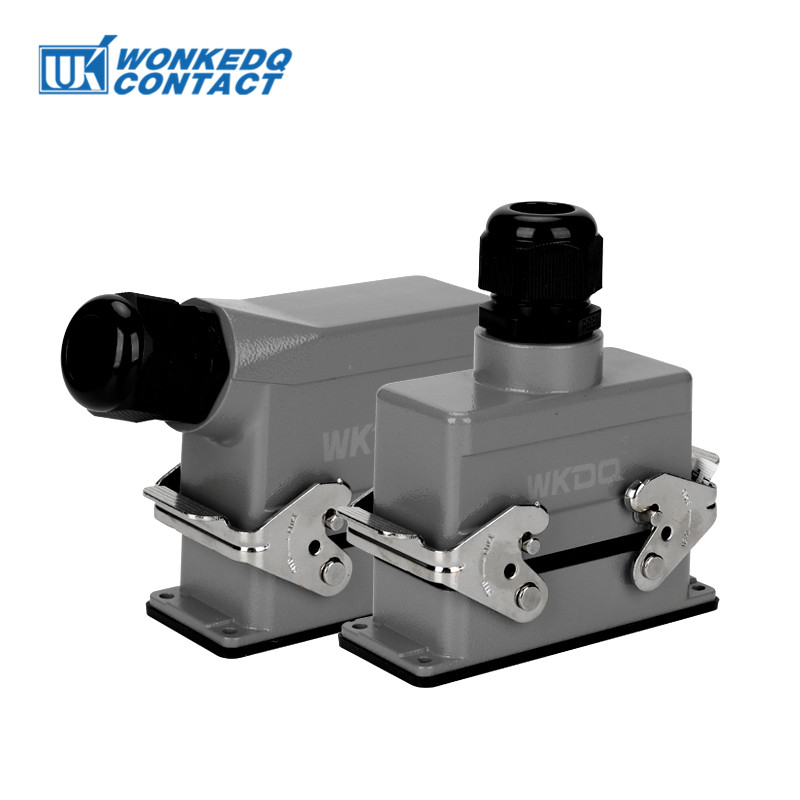 Rectangular Heavy Duty Connector HDC-HE-016 Core Industrial Waterproof Aviation Plug Socket 16A 500V Top Line And Lateral Line