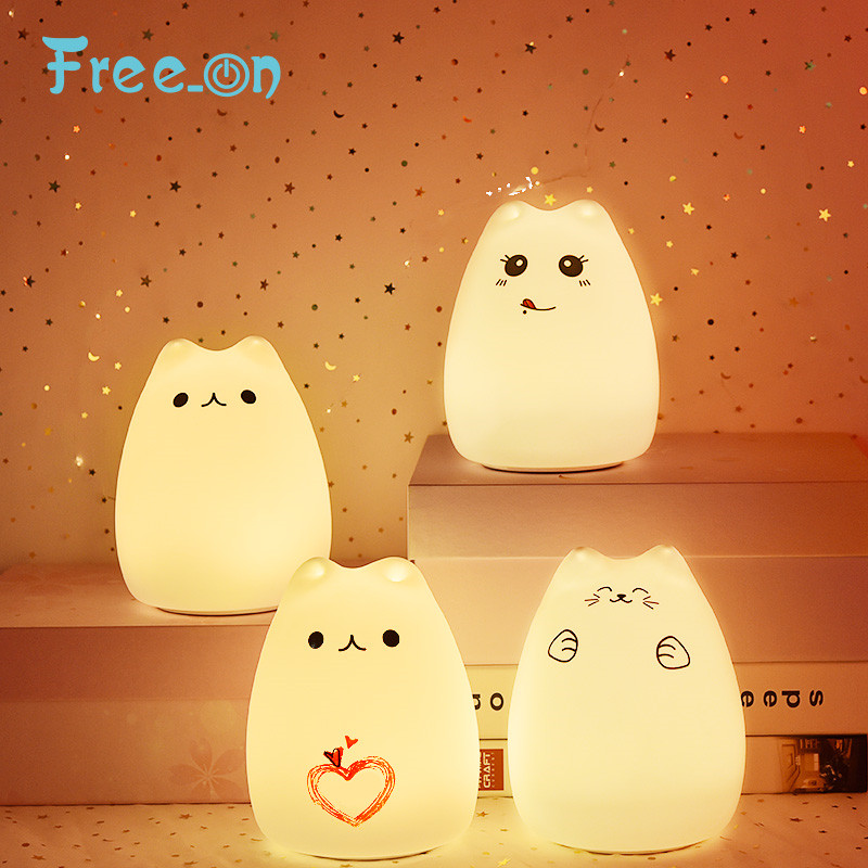 Free_on Children's Night Light Silicone Touch Sensor LED Lamp For Kids Gift 7 Colors 2 Modes Cat LampFor Home Bedroom Decor
