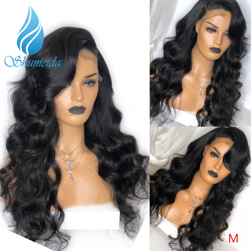 SMD Brazilian Remy Hair Body Wave 13*6 Lace Front Wigs With Baby Hair 150% Density Middle Ratio Glueless Lace Human Hair Wigs