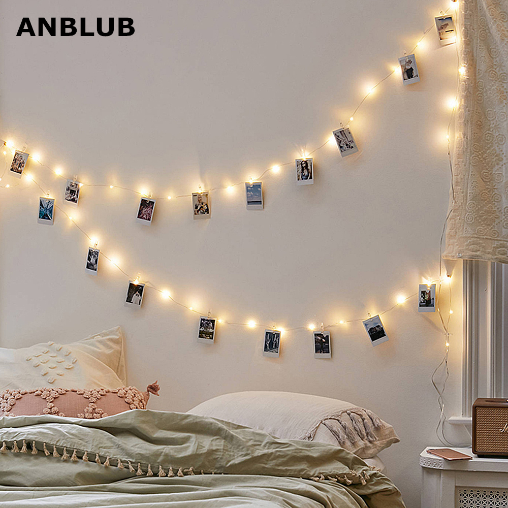 ANBLUB 1M 2M 5M 10M Photo Clip LED String Lights Fairy Garland Battery Operated For Outdoor Christmas Party Wedding Decoration