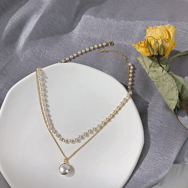 pearl and chain duo necklace 2