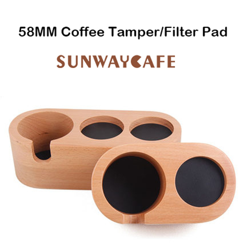 Coffee Filter Tamper Holder Solid Wood Espresso Tamper Mat Stand Coffee Maker Support Base Rack Coffee Accessories For Barista