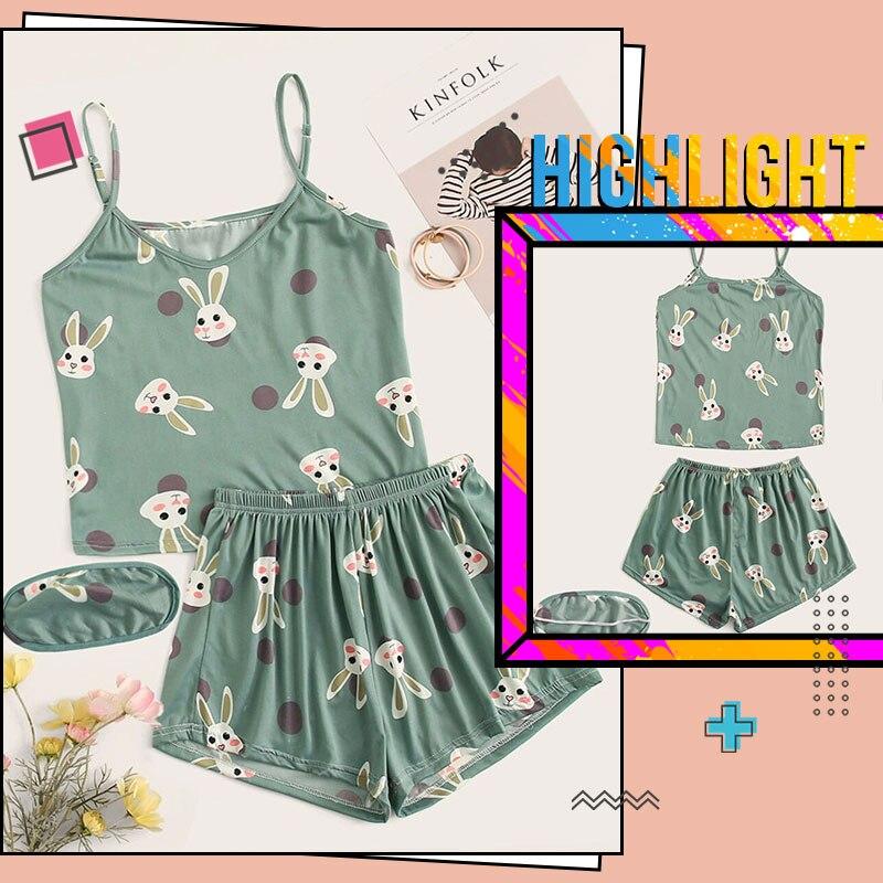 Romwe Konijn Print Stip Pyjama Voor Vrouwen Nachtkleding Groene Pj Shorts Set Met Oogmasker Zomer Nachtkledij Cartoon Slaap Slij