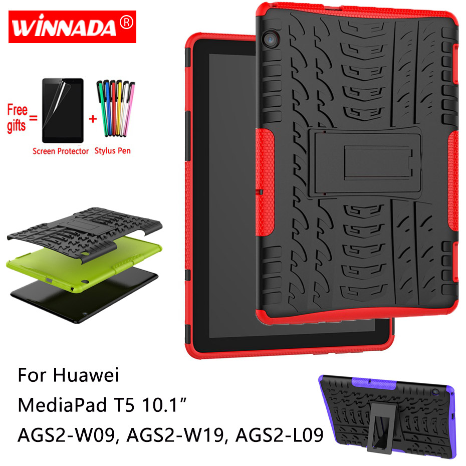 For Huawei MediaPad T5 10 Case For AGS2-W09 AGS2-W19 AGS2-L09 Tablet 10.1 Armor Silicone TPU+PC Shockproof Stand Cover +pen+Film