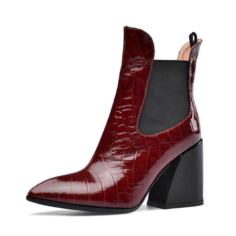 Gerçek deri yarım çizmeler kadınlar için moda sivri burun yüksek topuklu bayan batı botları Slip-on bayanlar kış siyah ayakkabı boyutu 43