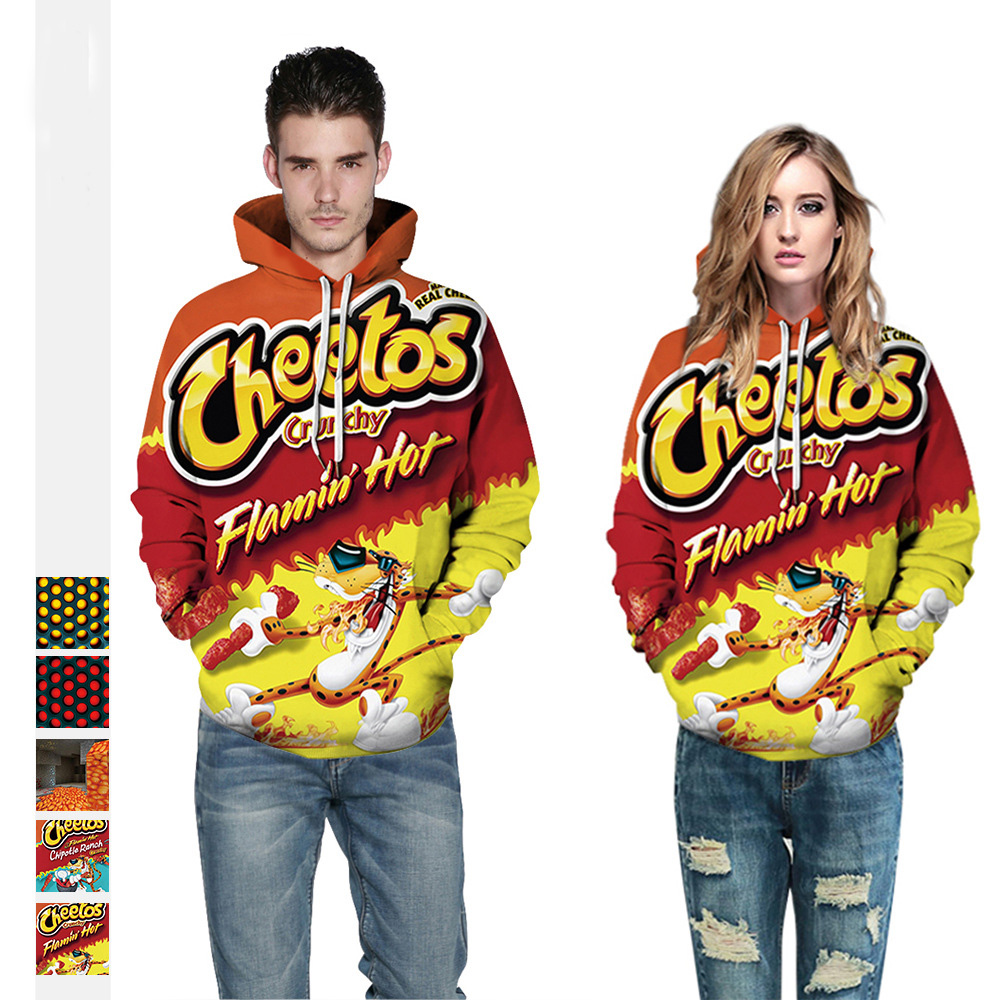 Hot Cheetos <font><b>3D</b></font> <font><b>Hoodie</b></font> Letter Print <font><b>Hoody</b></font> <font><b>Unisex</b></font> Long Sleeve PulloVer Casual All Over Printed Tracksuit Hooded Sweatshirts Outwea image