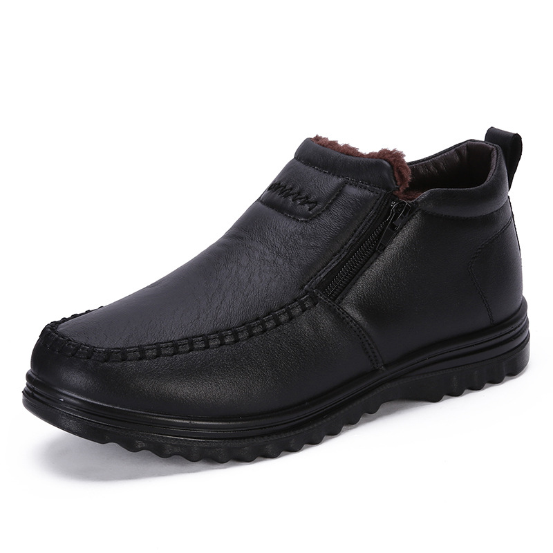 New Winter Comfortable Men Boots Big Size 38-45 Fashion Fur Zipper Warm Leather Boots for Men High Top Snow Casual Shoes Men